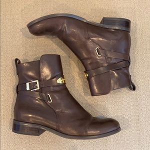 Michael Kors Arley Brown Leather Ankle Boots